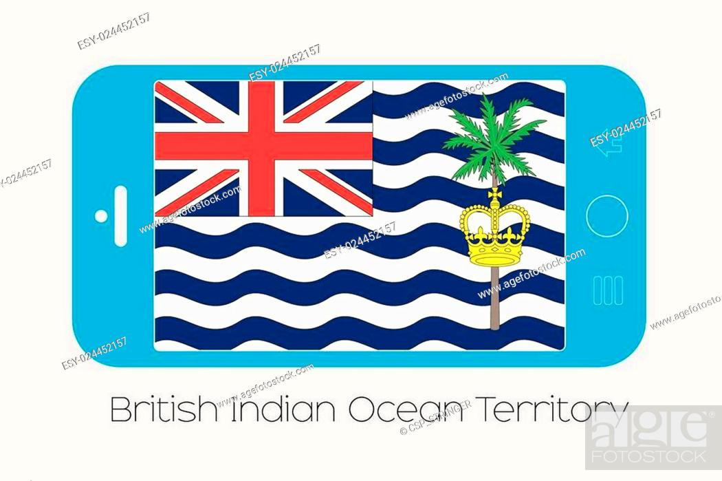 Stock Vector: Mobile Phone with the Flag of British Indian Ocean Territory.