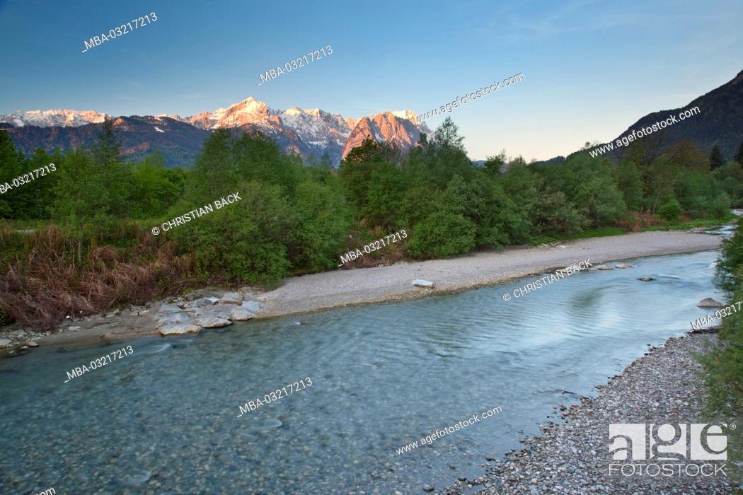 Stock Photo: Loisach with view to Zugspitze, Garmisch-Partenkirchen, Bavaria, Germany,.