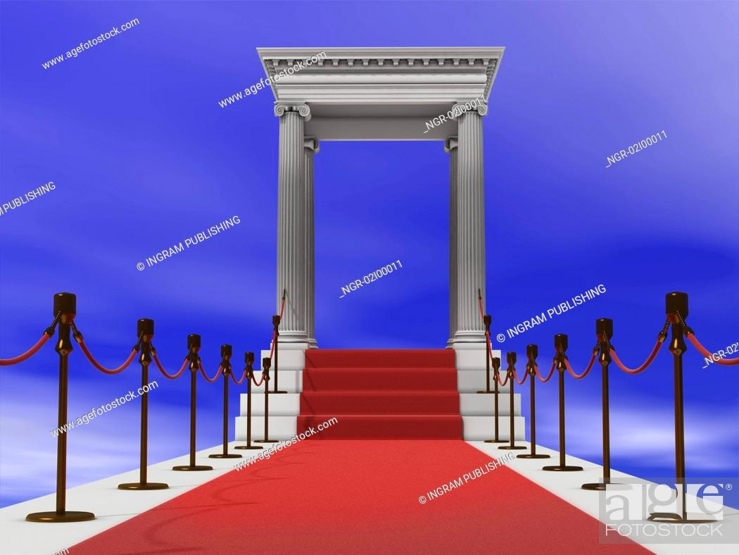 Stock Photo: majestic red carpet staircase in antique style (3D rendering).