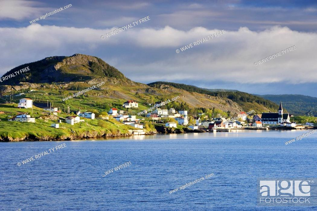 Stock Photo: View of village at sunrise, Trinity, Newfoundland, Canada.