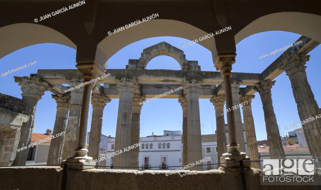 Stock Photo: Merida, Spain - April 17th, 2021: Temple of Diana seen from Interpretation Centre upper floor, Merida, Extremadura, Spain.