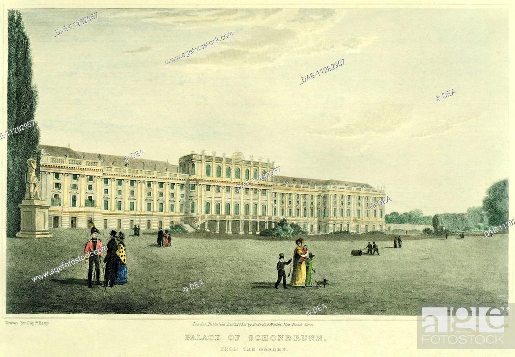 Stock Photo: The garden facade of Schoenbrunn Castle in Vienna, Austria 19th Century.