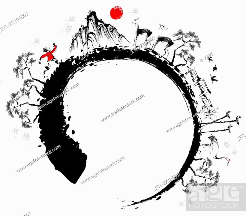 Stock Photo: Sketch of nature in round shape and man running.