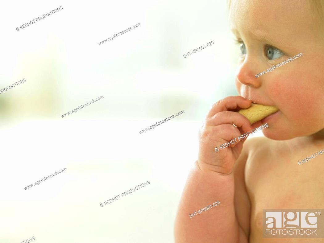 Stock Photo: Baby eating a cookie.