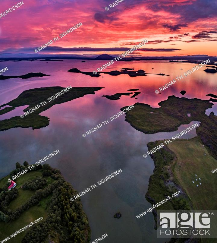 Stock Photo: Aerial view of Lake Myvatn at Sunset, Northern Iceland. Drone view.