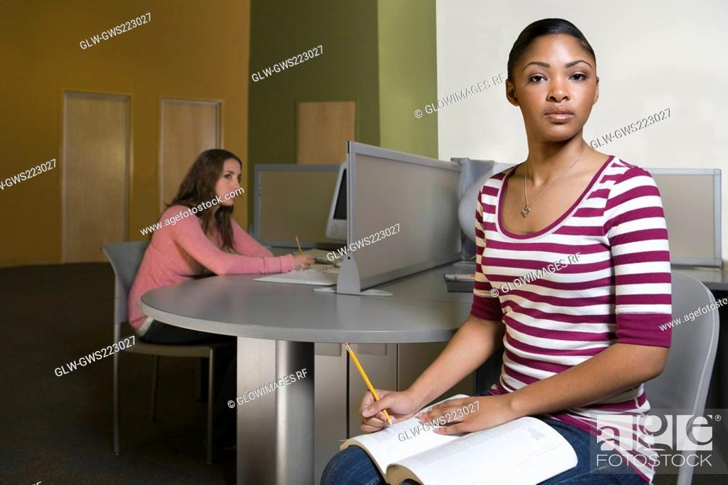 Stock Photo: Two young men studying in a computer lab.