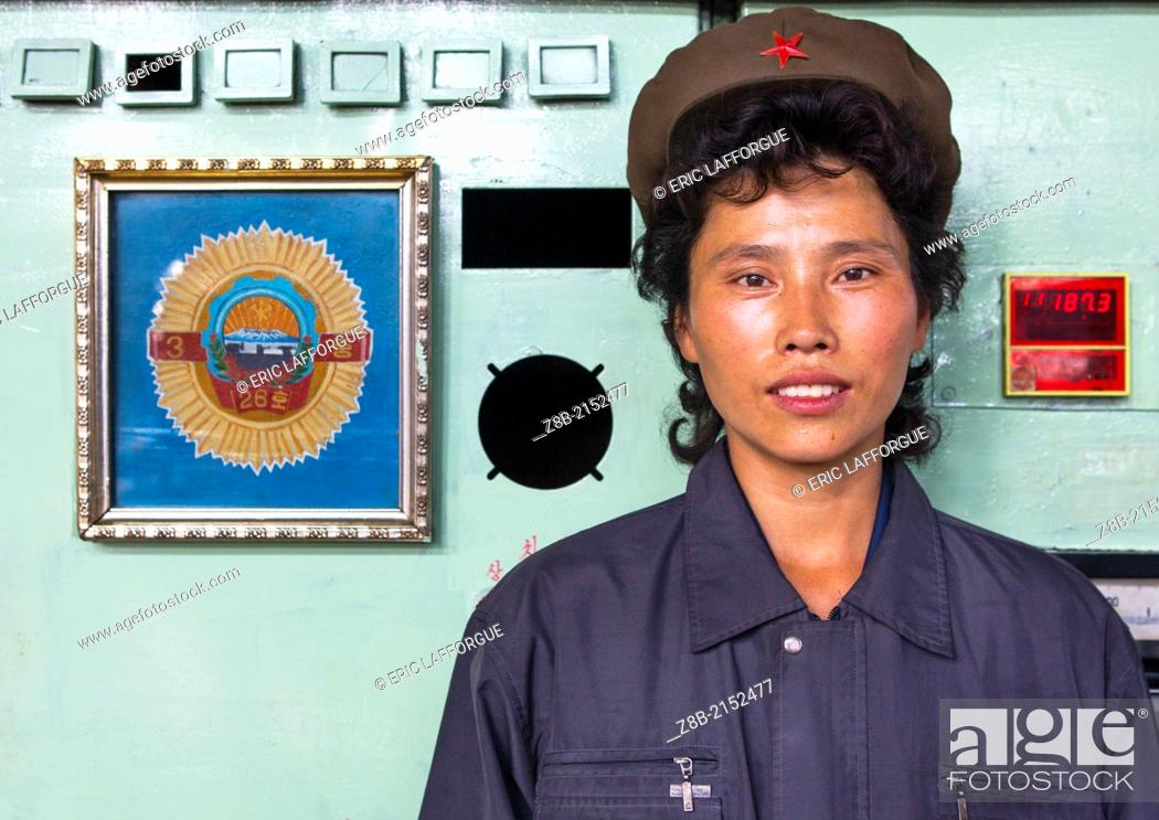 Stock Photo: Worker Woman At Hungnam Fertiliser Complex, Hamhung, North Korea.
