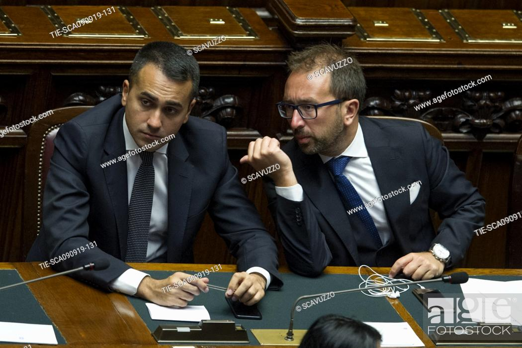 Stock Photo: Foreign Minister Luigi Di Maio and Justice Minister Alfonso Bonafede during the vote of confidence of new government in the House of Representatives, Rome.