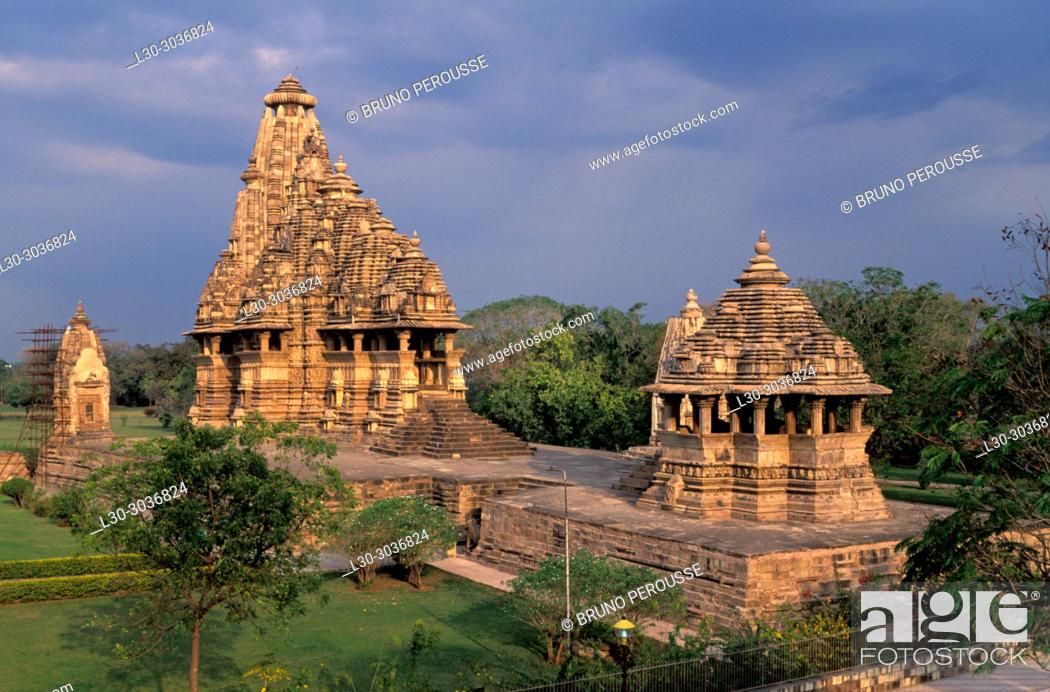 Stock Photo: Inde du Nord, Etat de Madhya Pradesh, temples de Khajuraho, Patrimoine Mondial de l'UNESCO.