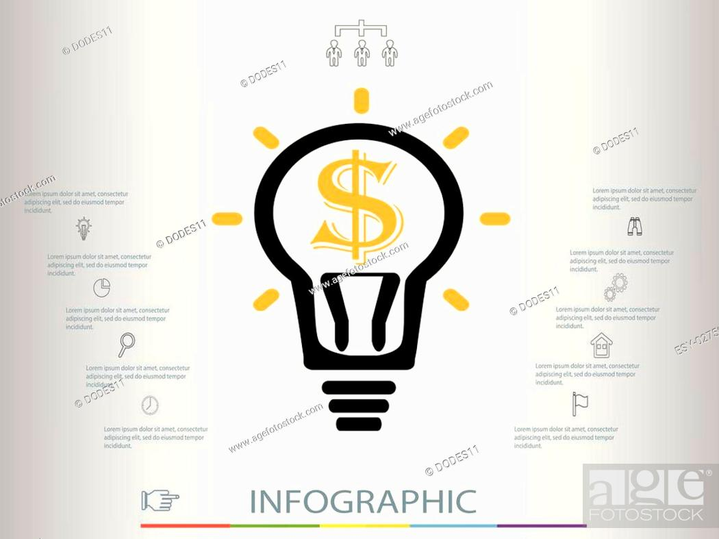 Stock Vector: Infographic business concept.infographics with a light bulb.Infographic template made from lines and icons.Thin line flat circle for infographic.