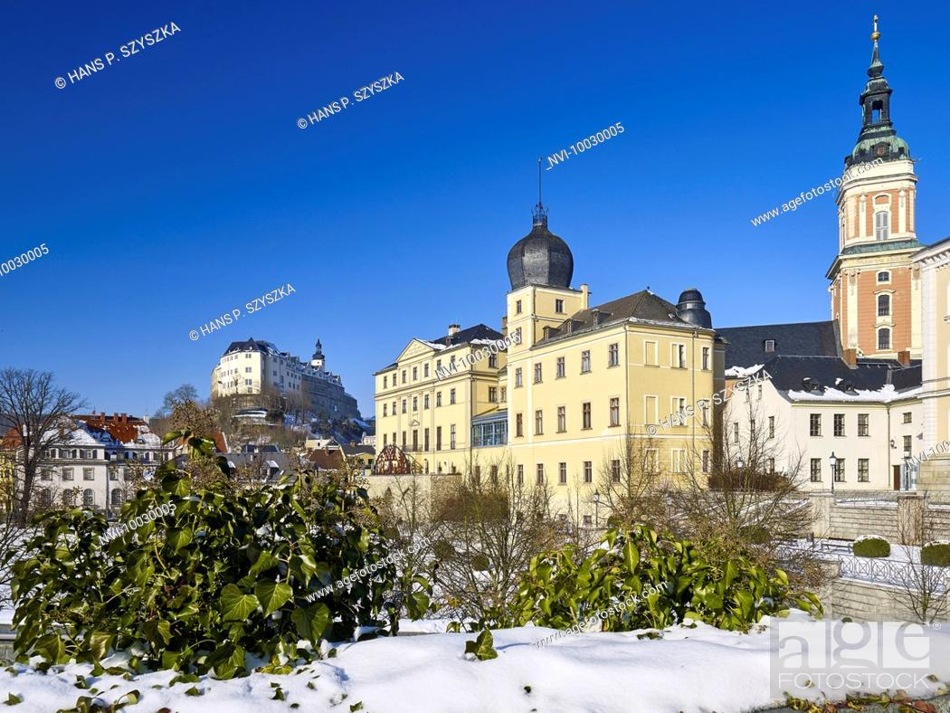Stock Photo: Upper and Lower Castle and City Church of St. Marien, Greiz, Thuringia.
