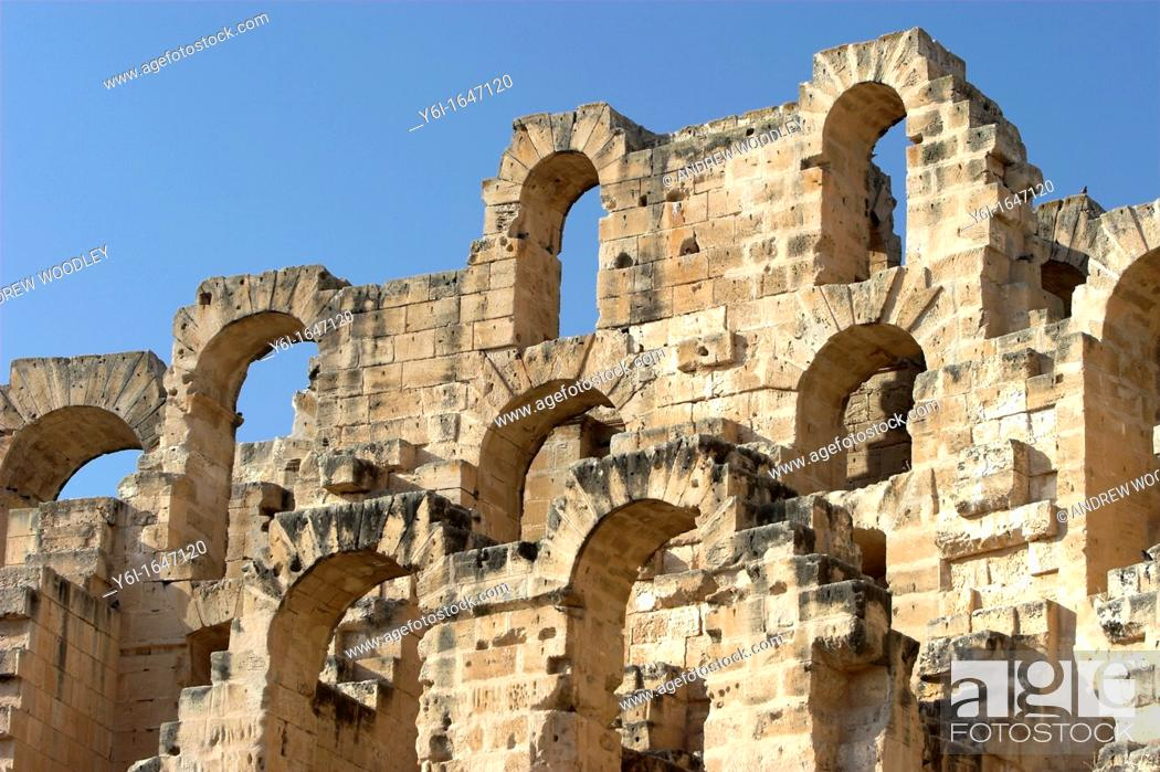 Stock Photo: Roman Colosseum El Jem Tunisia finest Roman remains in Africa.