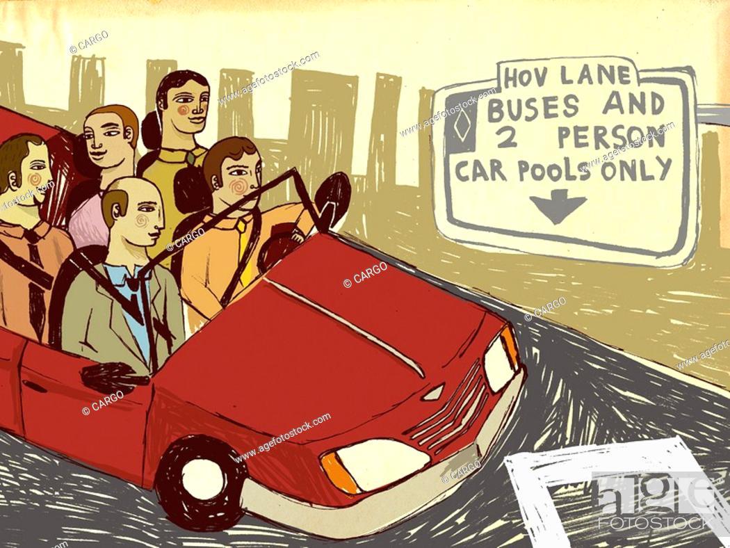 Stock Photo: Carpool in the high occupancy vehicle lane.