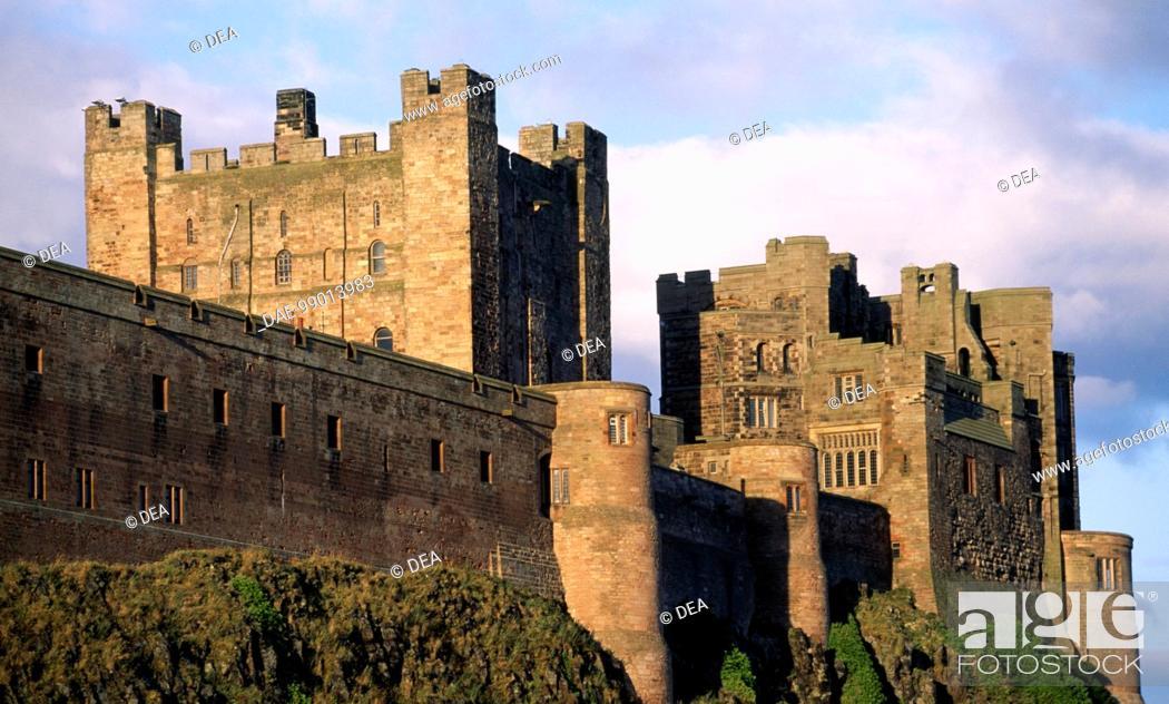 Stock Photo: View of Bamburgh Castle, Northumberland. England, 11th century.