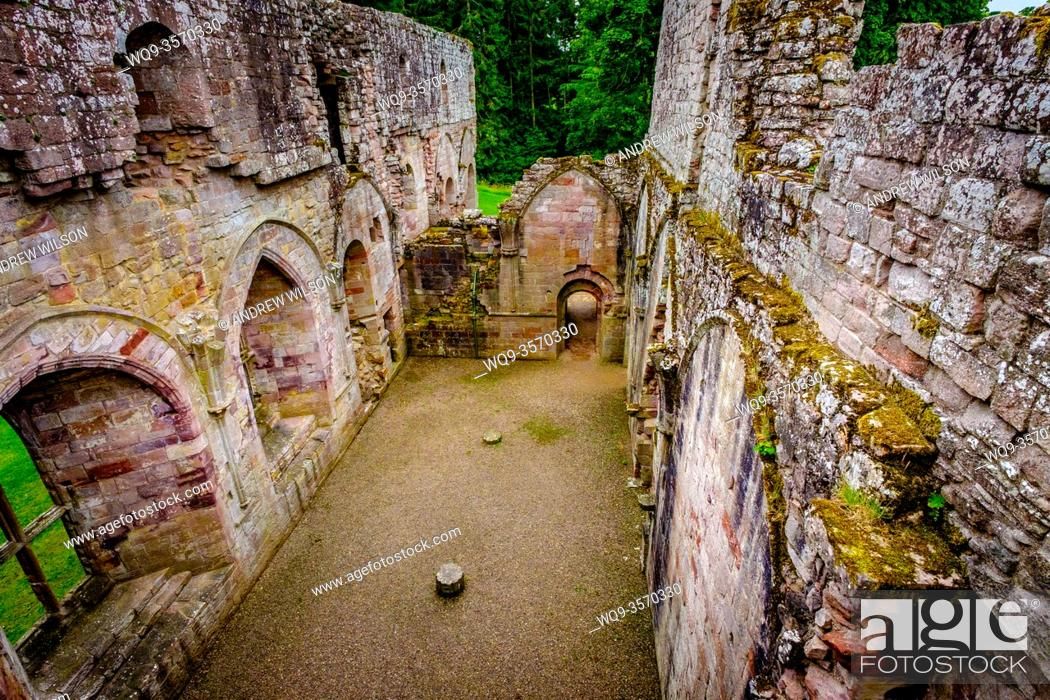 Stock Photo: The ruins of Dryburgh Abbey, Scottish Borders, Scotland - the burial place of Scottish writer Sir Walter Scott who died in 1832.