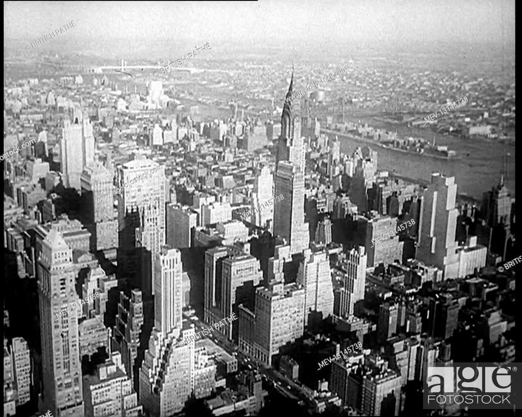 Stock Photo: Aerial Shot of New York City and the Chrysler Building, USA - United States of America.