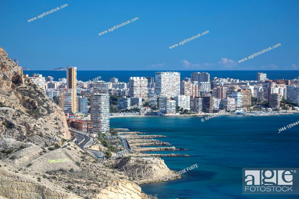 Stock Photo: Spain, Europe, Alicante, Costa Blanca, architecture, Blanca, blue, buildings, Costa, developed, development, dry, Mediterranean, touristic.