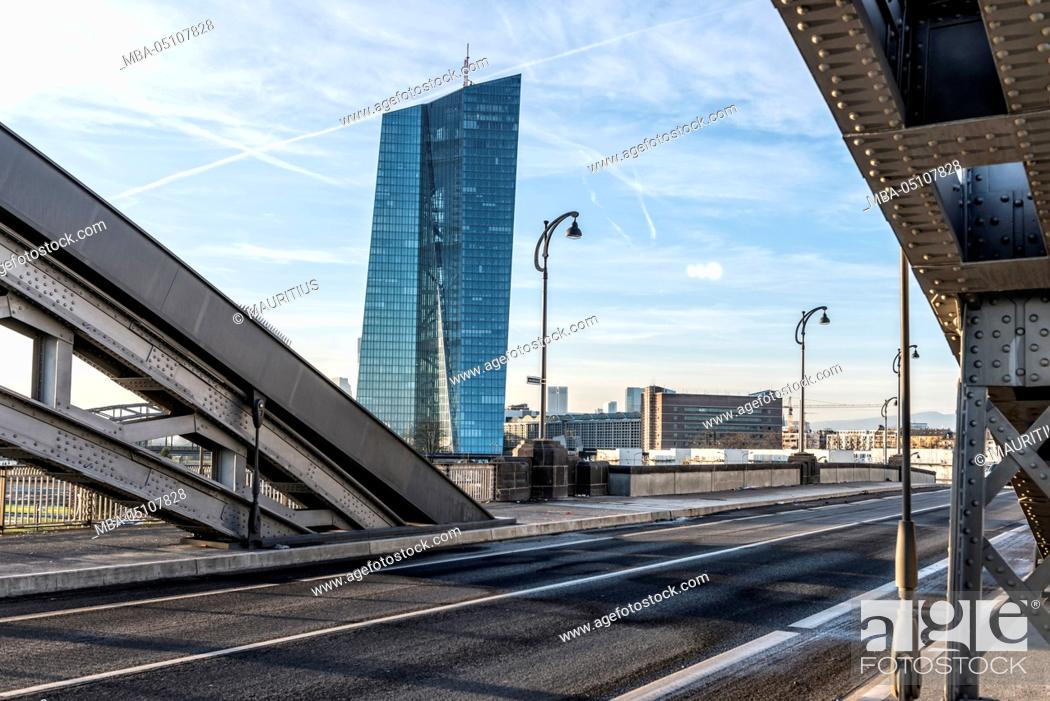 Stock Photo: Germany, Hesse, Frankfurt on the Main, the Main river, view to the new building of the European Central Bank and the new Honsellbrücke.