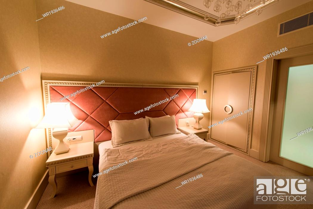 Stock Photo: GABALA - MAY 18: Room in Riverside Hotel on May 18, 2014 in Gabala, Azerbaijan. Riverside hotel is first 5 star hotel in Gabala, Azerbaijan.