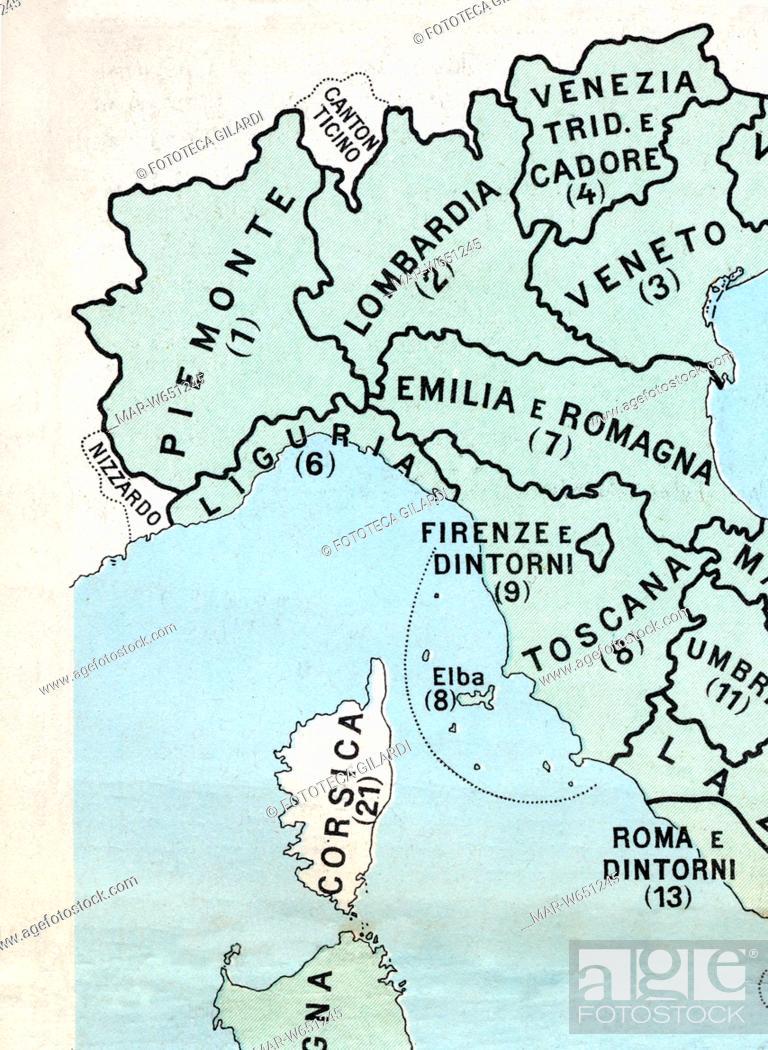 Cartina Dell Italia Divisa Per Regioni.Cartografia Dettaglio Nord Ovest Con I Confini Verso La