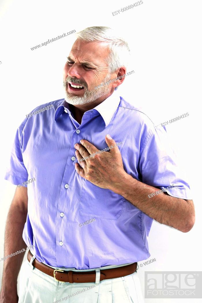 Stock Photo: caucasian senior man portrait heart attack isolated studio on white background.