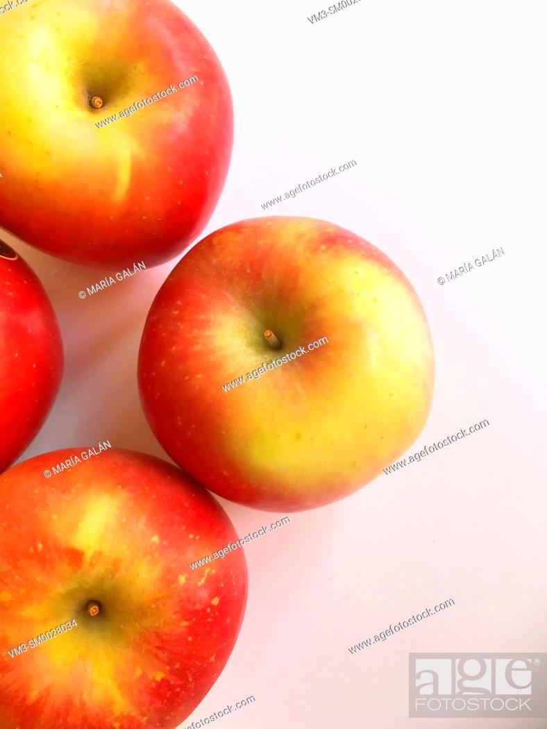 Stock Photo: Four apples. View from above.