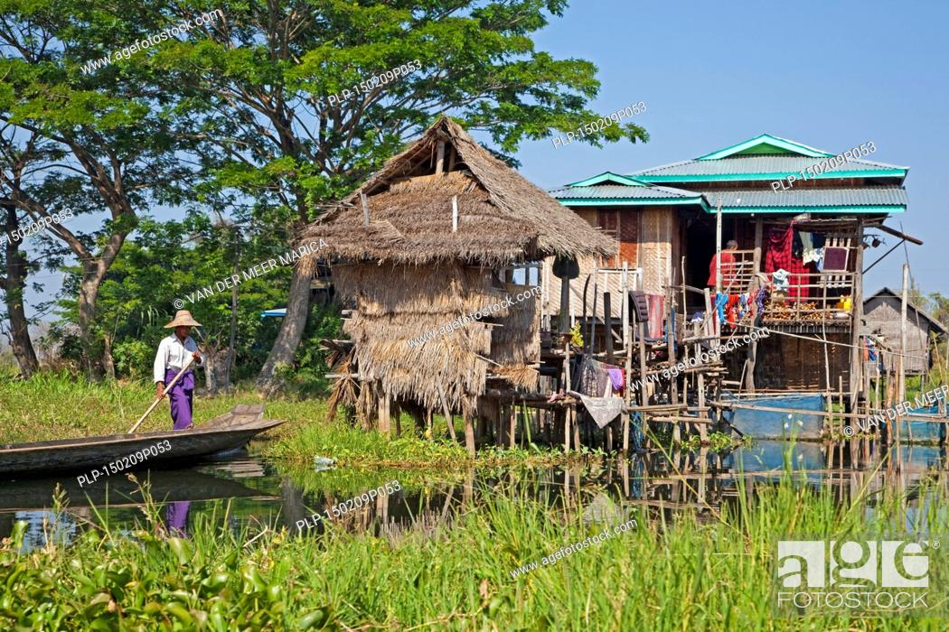 Awesome Stock Photo   Intha Man In Proa At Lakeside Village With Traditional Bamboo  Houses On Stilts In Inle Lake, Nyaungshwe, Shan State, Myanmar / Burma