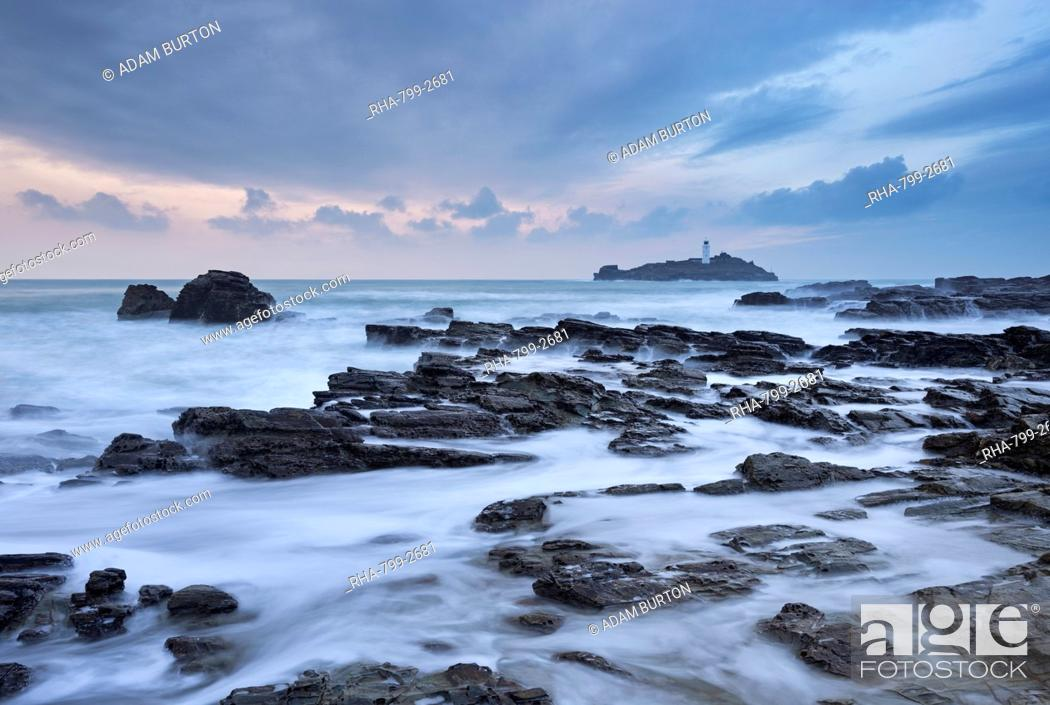 Stock Photo: High tide at Godrevy, looking towards Godrevy Lighthouse, St. Ives Bay, Cornwall, England, United Kingdom, Europe.
