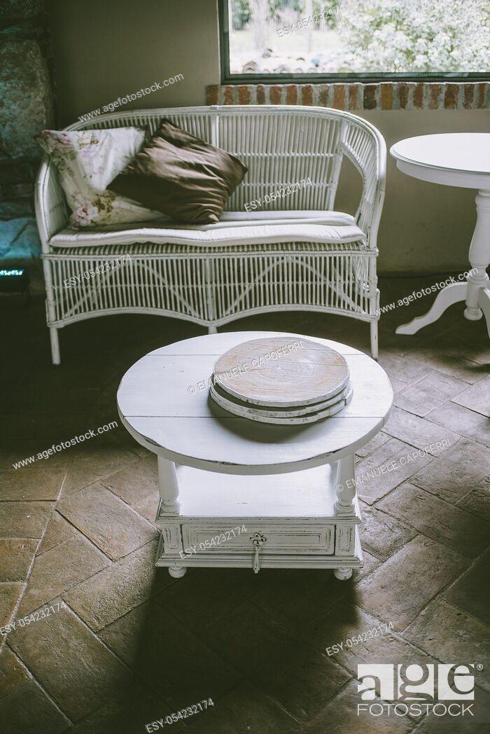 Stock Photo: Relax corner wicker sofa.