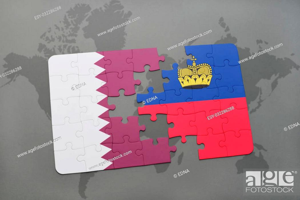 Stock Photo: puzzle with the national flag of qatar and liechtenstein on a world map background. 3D illustration.