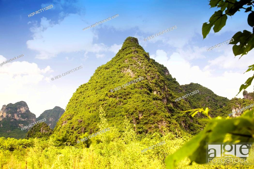 Stock Photo: Low angle view of hill ranges, Yangshuo, Guangxi Province, China.
