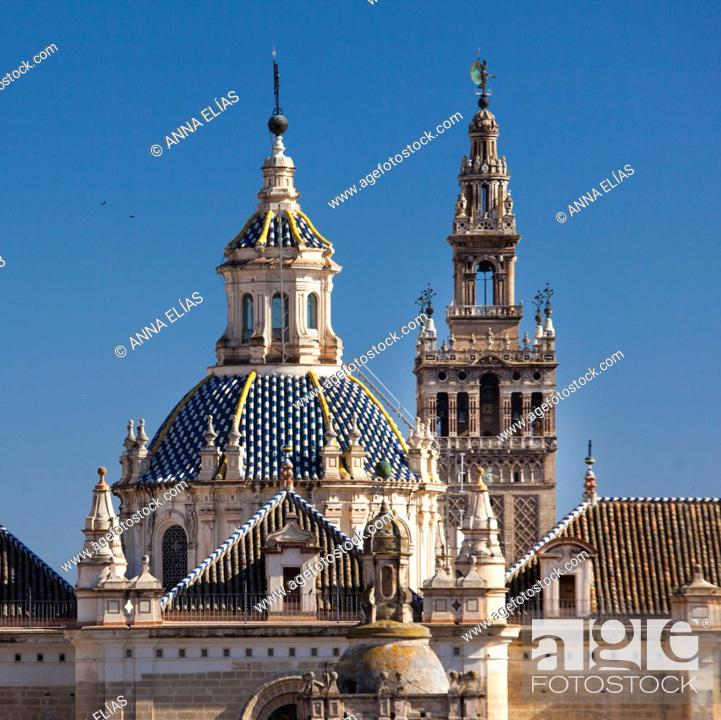 Stock Photo: Giralda detail and place of Salvador, Sevilla, Andalucia, Spain, Europe.