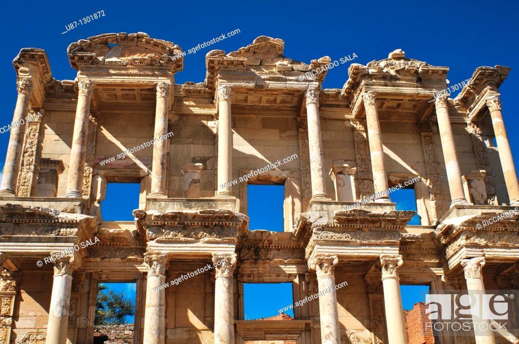 Stock Photo: Turkey, Kusadasi, Ephesus, the Library of Celsus.
