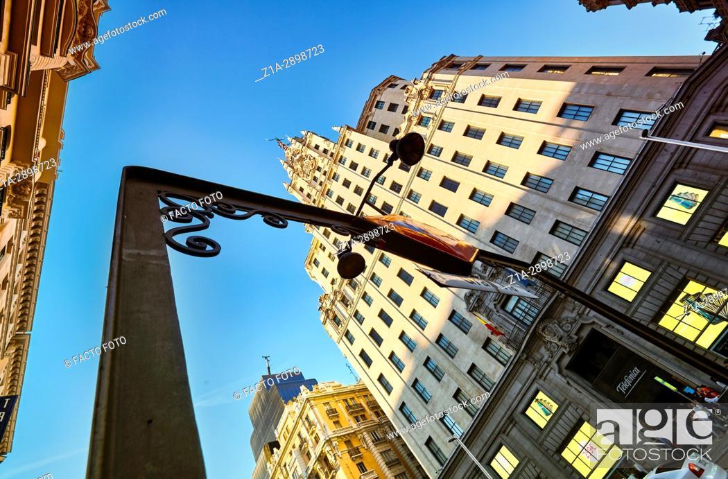 Stock Photo: Telefonica building and Gran Via street. Madrid, Spain.