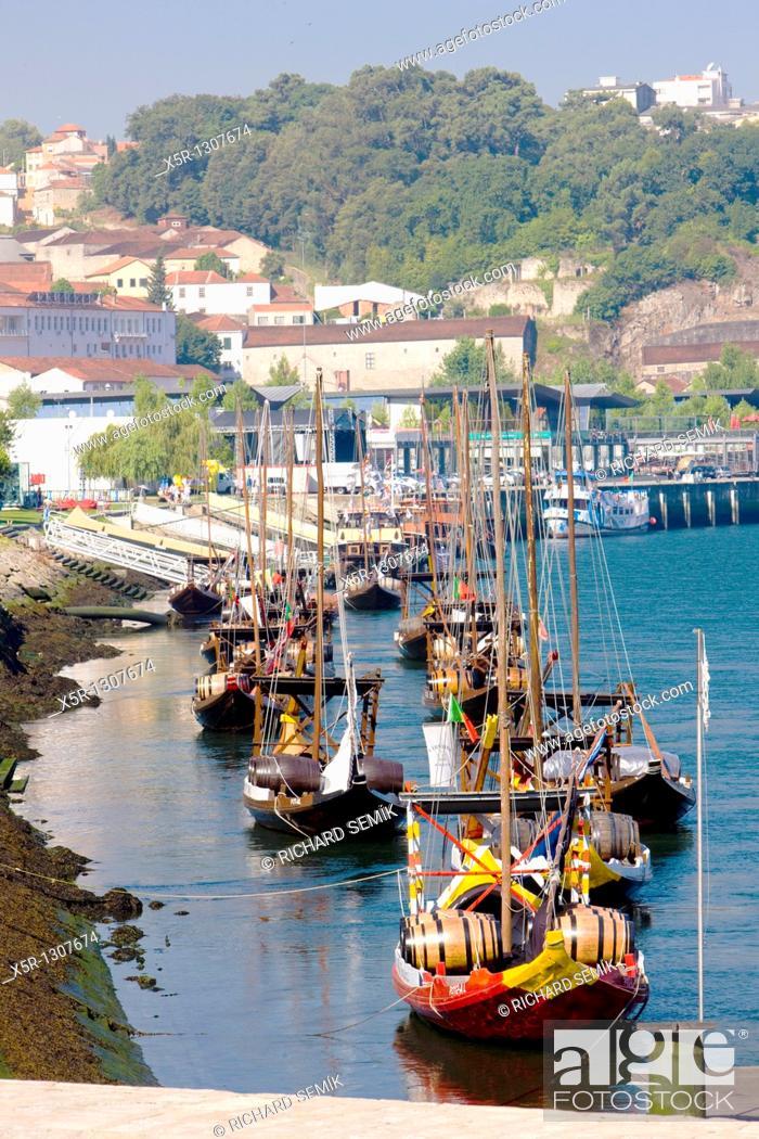 Stock Photo: Rabelos (typical boats). Vila Nova de Gaia, Porto District, Portugal.