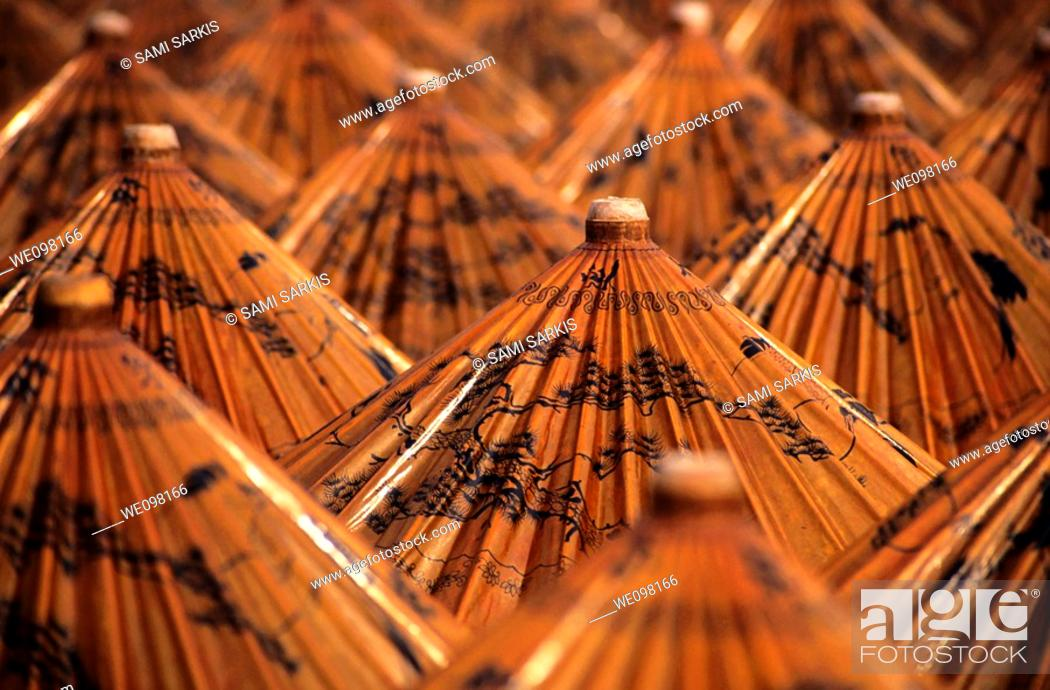 Stock Photo: Traditional umbrellas with intricate designs, Thailand.