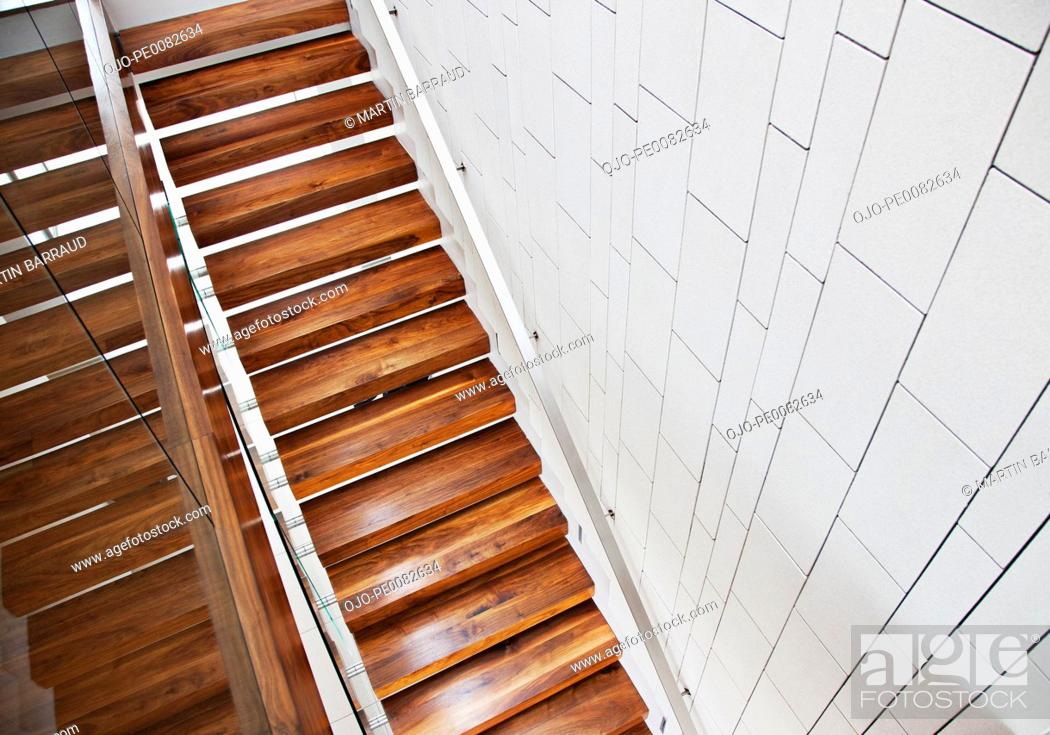 Stock Photo: High angle view of wooden stairs.
