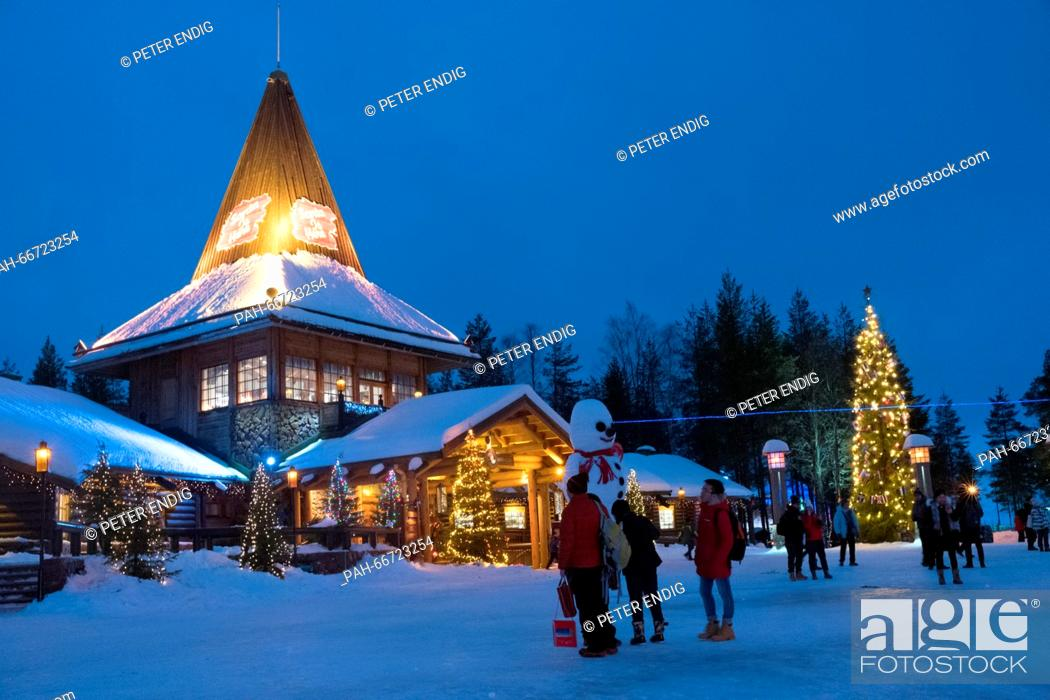 Stock Photo: The Christmas village at the polar circle in Rovaniemi, Lapland, 08 February 2016. Santa Clause's workplace village is a famous tourist spot on the northern.