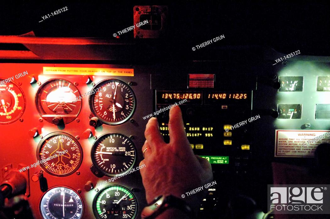 Flying instruments panel during a night flight in a Cessna