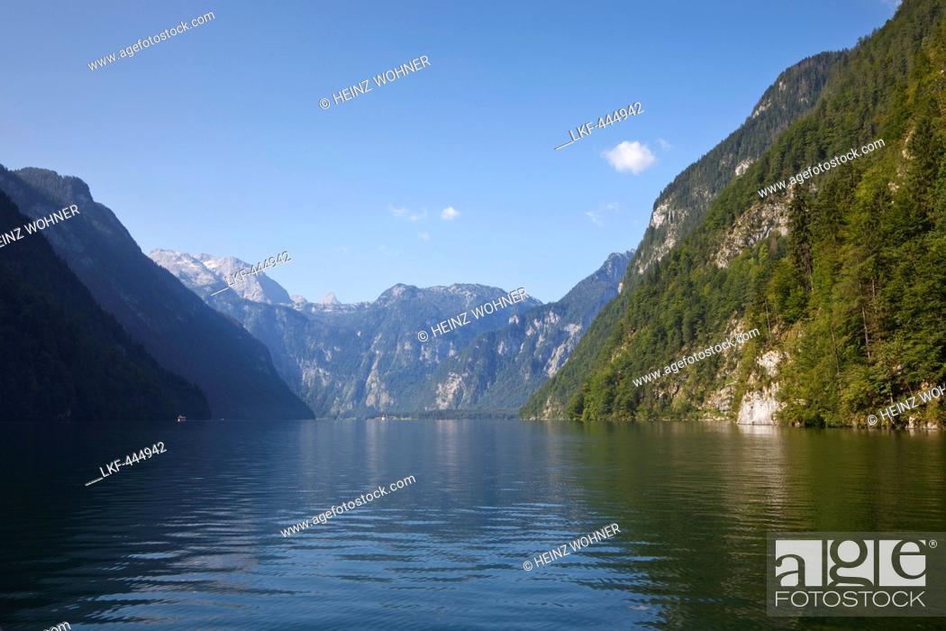 Stock Photo: View over Koenigssee, Berchtesgaden region, Berchtesgaden National Park, Upper Bavaria, Germany.