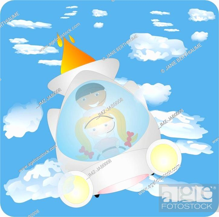 Stock Photo: Two kids flying through clouds in a space ship.