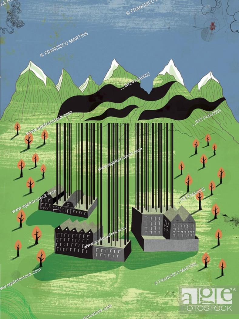 Stock Photo: Factories in the mountains with barcode smoke chimneys.