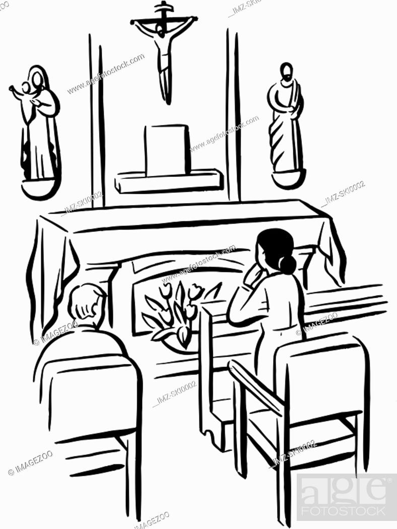 Stock Photo: People praying in a chapel illustrated in black and white.
