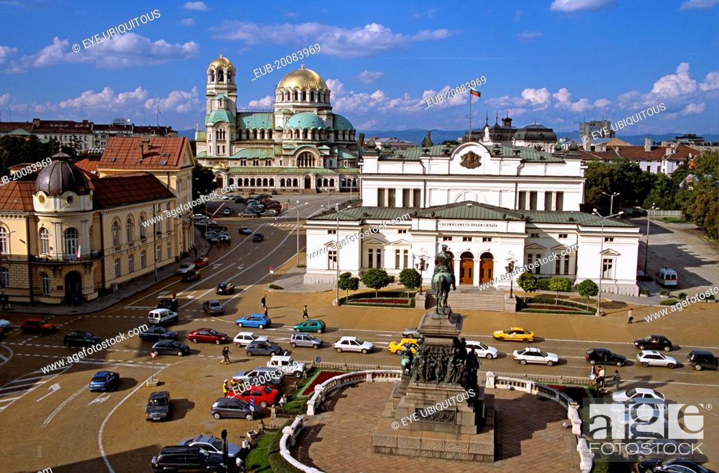 Stock Photo: Liberation Monument, Bulgarian Parliament Building, Science Academy, and Alexander Nevsky Cathedral.