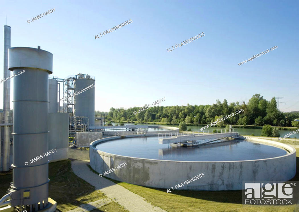 Stock Photo: Paper plant, water treatment area.