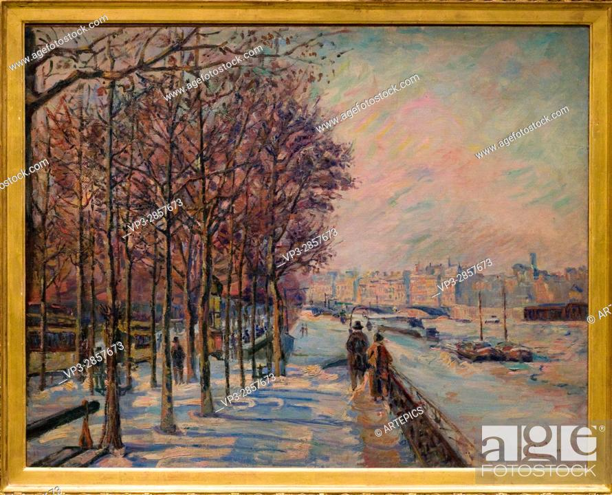 Stock Photo: Armand Guillaumin. Paris, quai de bercy, effet de neige - Paris, Quai de Bercy, Snow Effect. 1873. XIX th Century. French school. Orsay Museum -Paris.