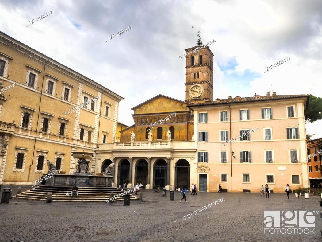 Stock Photo: Basilica di Santa Maria in Trastevere - Rome, Italy.