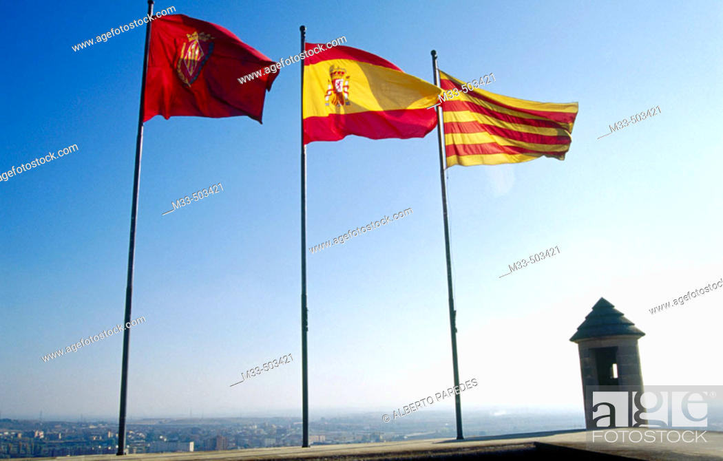 Stock Photo: Lleida, Spanish and Catalan flags in Seu Vella. Lleida. Catalunya. Spain.