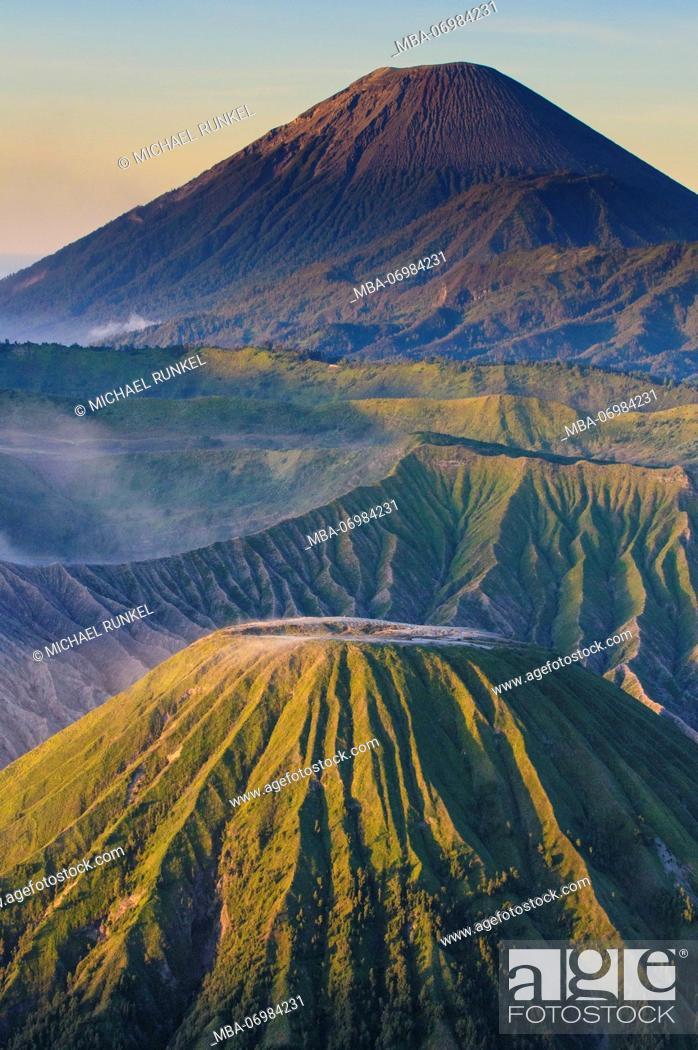 Stock Photo: Early sunrise at the Mount Bromo crater, Bromo Tengger Semeru National Park, Java, Indonesia.