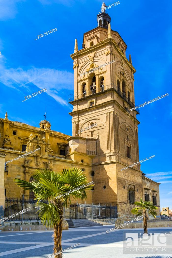 Stock Photo: Facade of San Torcuato, 18th century, is the work of architect Gaspar Cayón. Guadix Cathedral, Cathedral of Guadix, or Cathedral of the Incarnation.